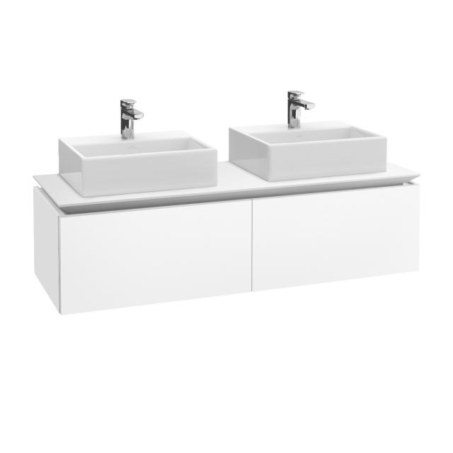 Villeroy & Boch Legato vanity unit for 2 countertop washbasins with 2 pull-out compartments front matt white / corpus matt white