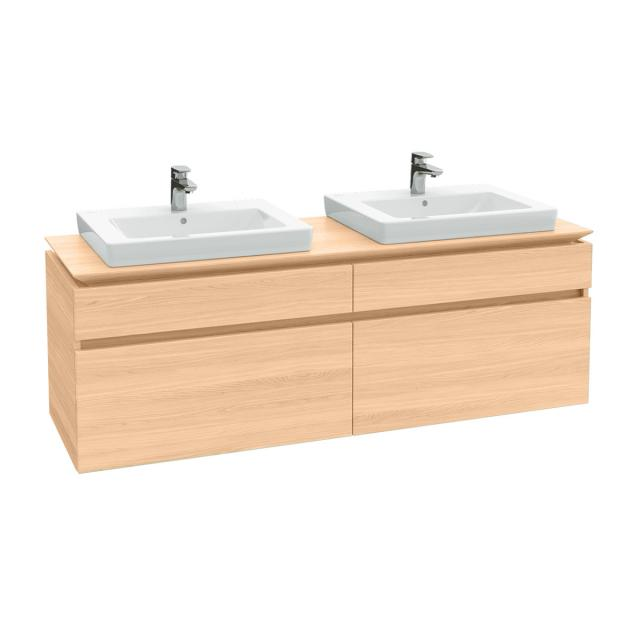 Villeroy & Boch Legato vanity unit for 2 drop-in washbasins with 4 pull-out compartments front impresso elm / corpus impresso elm