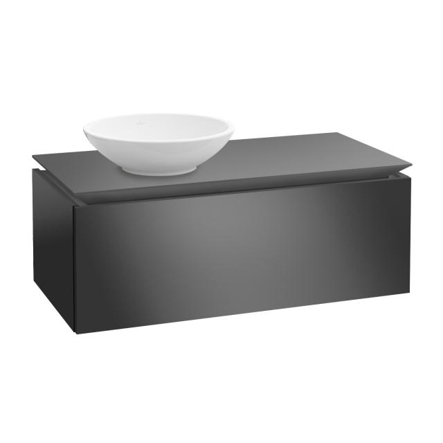 Villeroy & Boch Legato vanity unit for countertop washbasin with 1 pull-out compartment front glossy grey / corpus glossy grey