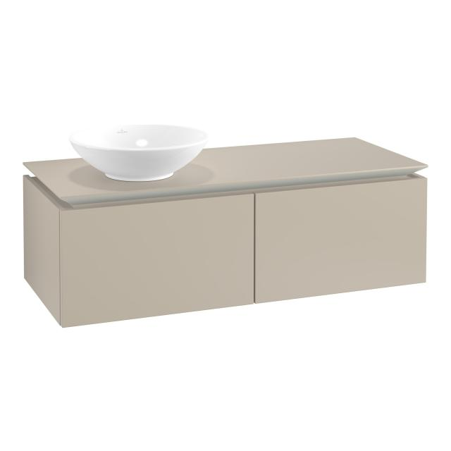 Villeroy & Boch Legato vanity unit for countertop washbasin with 2 pull-out compartments front soft grey / corpus soft grey