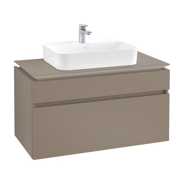 Villeroy & Boch Legato vanity unit for countertop washbasin with 2 pull-out compartments front truffle grey / corpus truffle grey