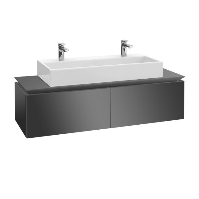 Villeroy & Boch Legato vanity unit for double washbasin with 2 pull-out compartments front glossy grey / corpus glossy grey