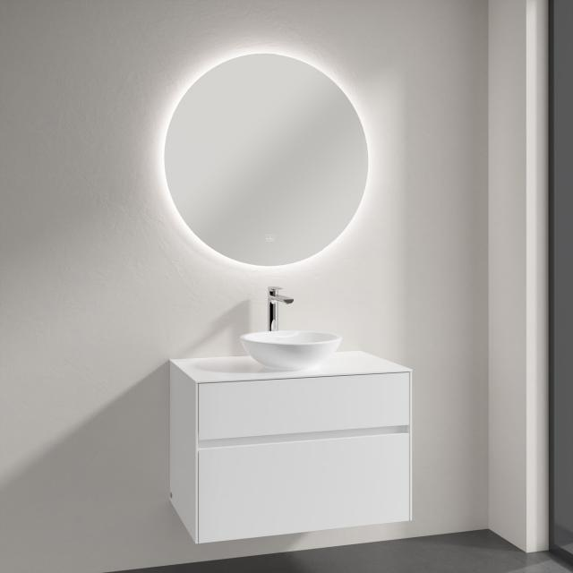 Villeroy & Boch Loop & Friends countertop washbasin with Embrace vanity unit and More to See Lite mirror front glossy white/mirrored / corpus glossy white, recessed handle matt white, WB with overflow