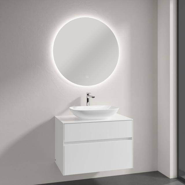 Villeroy & Boch Loop & Friends countertop washbasin with Embrace vanity unit and More to See Lite mirror front glossy white/mirrored / corpus glossy white, recessed handle matt white