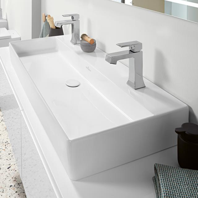 Villeroy & Boch Memento 2.0 double washbasin white, with CeramicPlus, without overflow, grounded