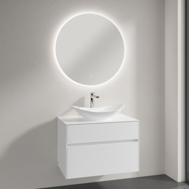 Villeroy & Boch My Nature countertop washbasin with Embrace vanity unit and More to See Lite mirror front glossy white/mirrored / corpus glossy white, recessed handle matt white