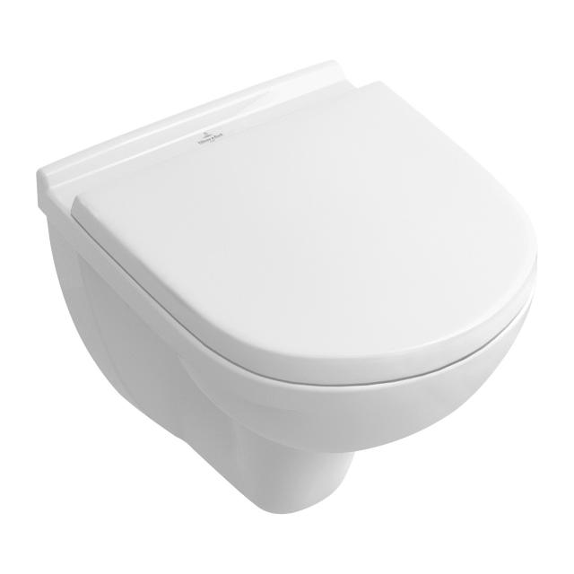 Villeroy & Boch O.novo combi pack Compact wall-mounted washdown toilet, with toilet seat rimless, white, with CeramicPlus