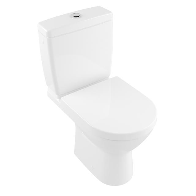Villeroy & Boch O.novo Compact floorstanding close-coupled washdown toilet, open flush rim white, with CeramicPlus