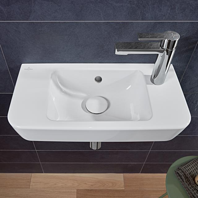 Villeroy & Boch O.novo Compact hand washbasin white, with 1 tap hole right, with overflow