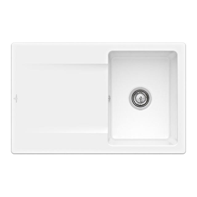 Villeroy & Boch Siluet 45 built-in sink with draining board white alpine high gloss/without tap hole