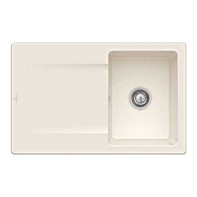 Villeroy & Boch Siluet 45 Flat sink flush-mounted with draining board cream gloss/without tap hole