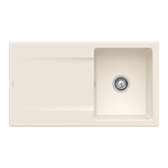 Villeroy & Boch Siluet 50 built-in sink with draining board cream gloss/without tap hole