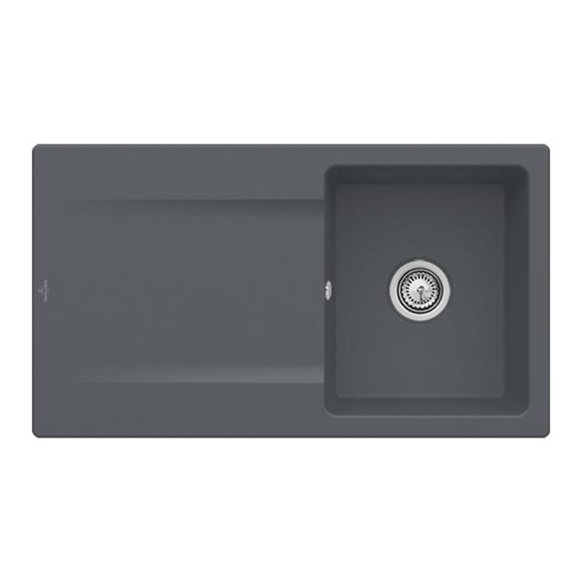 Villeroy & Boch Siluet 50 Flat sink flush-mounted with draining board and pop-up waste graphite/without tap hole