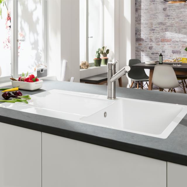 Villeroy & Boch Siluet 50 Flat sink flush-mounted with draining board and pop-up waste stone white/position borehole 1