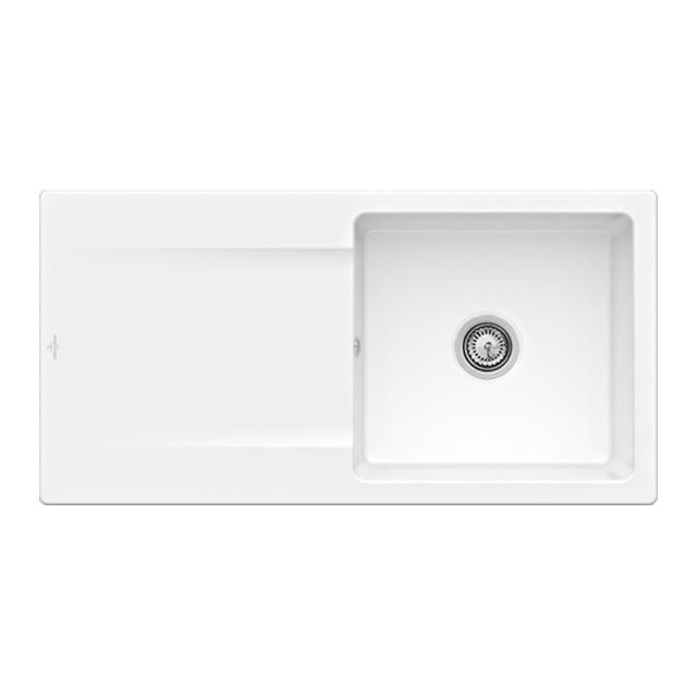 Villeroy & Boch Siluet 60 Flat sink flush-mounted with draining board white alpine high gloss/without tap hole