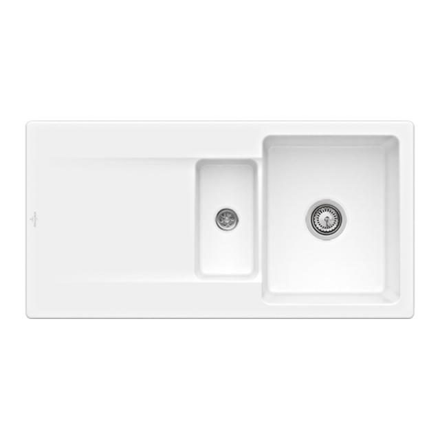Villeroy & Boch Siluet 60 R Flat sink flush-mounted with draining board stone white/position borehole 2