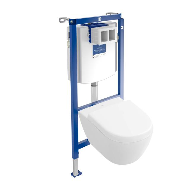 Villeroy & Boch Subway 2.0 & ViConnect NEW complete set wall-mounted washdown toilet, open flush rim, with toilet seat white, with CeramicPlus