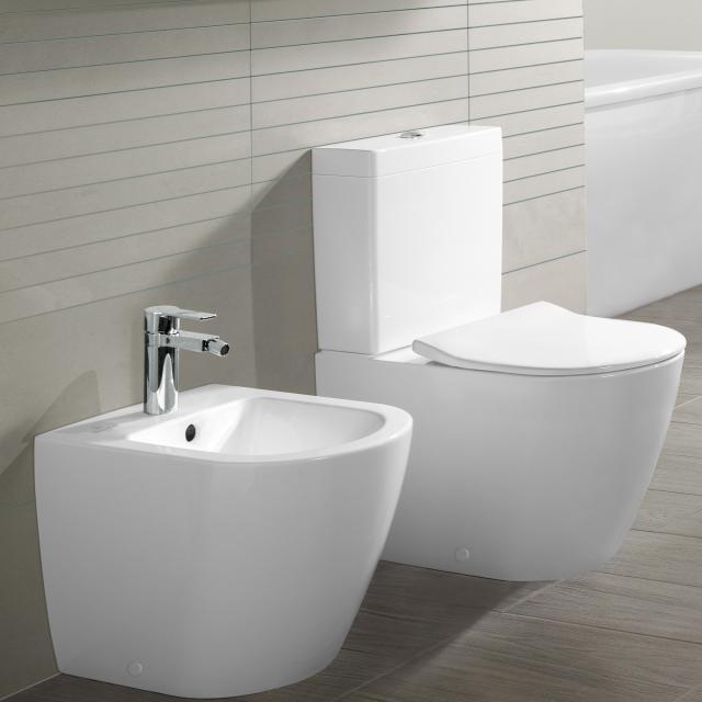 Villeroy & Boch Subway 2.0 floorstanding close-coupled washdown toilet, open flush rim white, with CeramicPlus