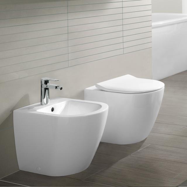 Villeroy & Boch Subway 2.0 floorstanding washdown toilet, open flush rim white, with CeramicPlus