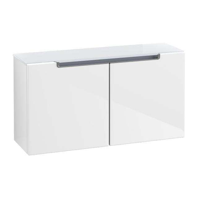 Villeroy & Boch Subway 2.0 sideboard with 2 doors front glossy white / corpus glossy white, white top, chrome handles, chrome handles
