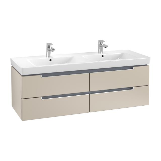 Villeroy & Boch Subway 2.0 vanity unit for double washbasin with 4 pull-out compartments front soft grey / corpus soft grey, matt silver handles