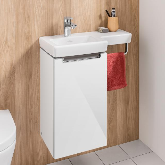 Villeroy & Boch Subway 2.0 vanity unit for hand washbasin with 1 door front glossy white / corpus glossy white, chrome handle