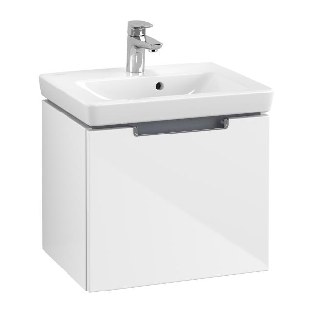 Villeroy & Boch Subway 2.0 vanity unit for hand washbasin with 1 pull-out compartment front glossy white / corpus glossy white, chrome handle