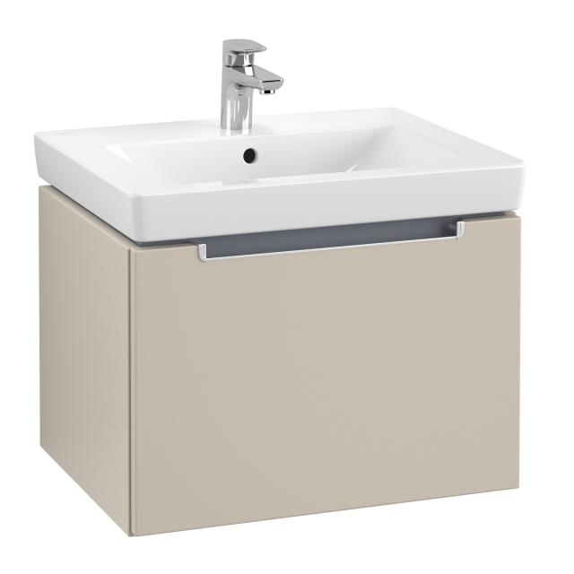 Villeroy & Boch Subway 2.0 vanity unit with 1 pull-out compartment front soft grey / corpus soft grey, matt silver handle