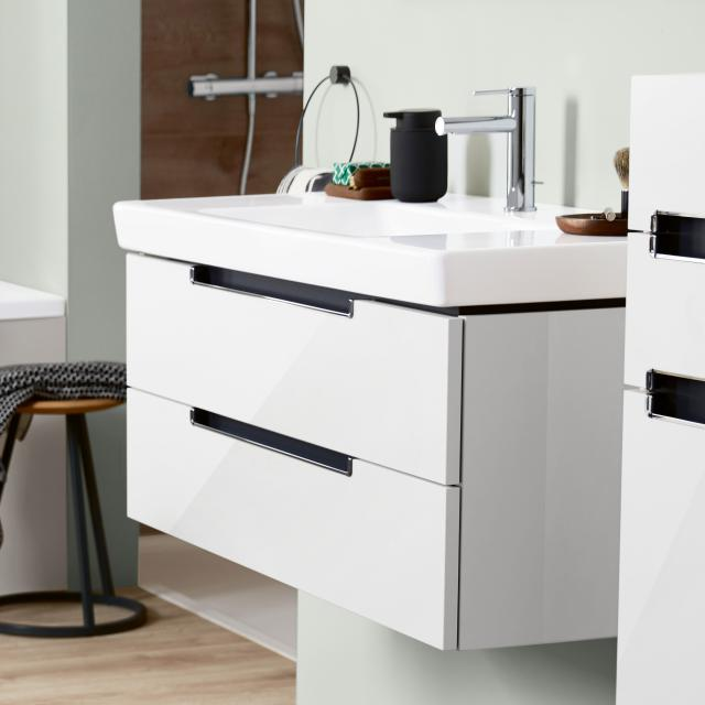 Villeroy & Boch Subway 2.0 vanity unit with 2 pull-out compartments front glossy white / corpus glossy white, chrome handle