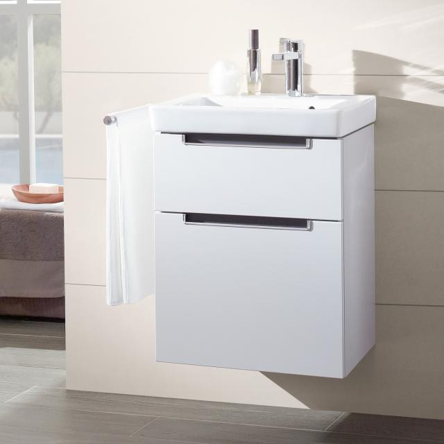 Villeroy & Boch Subway 2.0 vanity unit XXL for hand washbasin with 2 pull-out compartments front glossy white / corpus glossy white, chrome handle