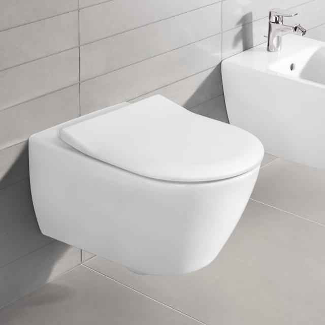 Villeroy & Boch Subway 2.0 wall-mounted washdown toilet, open flush rim, DirectFlush white, with CeramicPlus