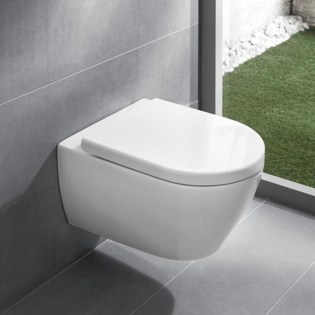Villeroy & Boch Subway 2.0 wall-mounted, washdown toilet, open flush rim, DirectFlush, with toilet seat white, with CeramicPlus