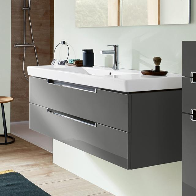 Villeroy & Boch Subway 2.0 washbasin with vanity unit with 2 pull-out compartments front glossy grey / corpus glossy grey