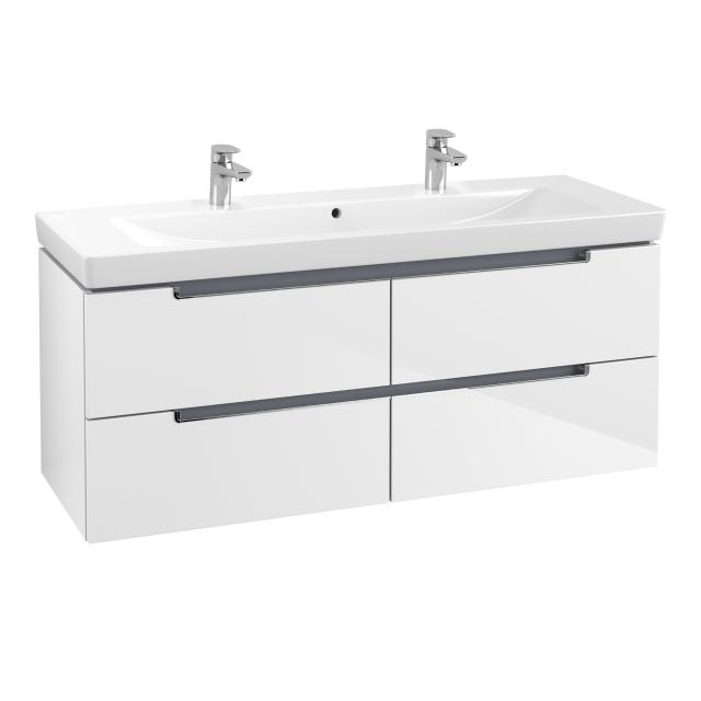 Villeroy & Boch Subway 2.0 washbasin with vanity unit with 4 pull-out compartments white, with CeramicPlus, with 2 tap holes, with overflow