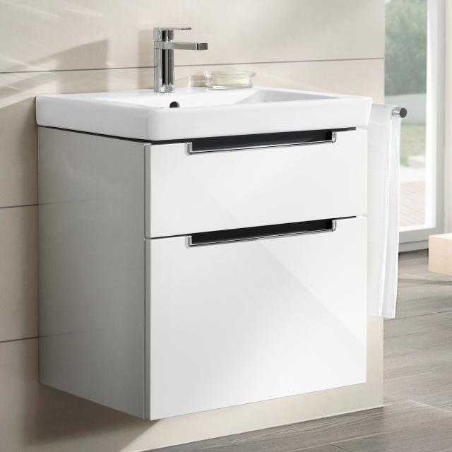 Villeroy & Boch Subway 2.0 washbasin with vanity unit with 2 pull-out compartments white, with CeramicPlus, with 1 tap hole, with overflow