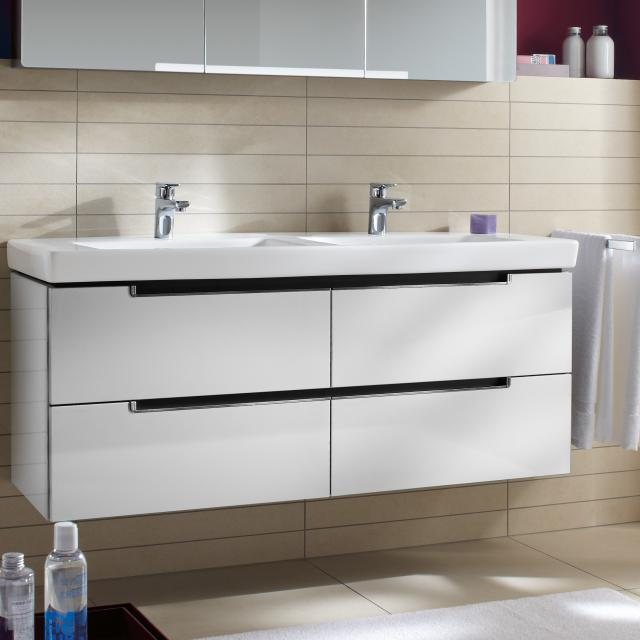 Villeroy & Boch Subway 2.0 XL vanity unit for double washbasin, 4 pull-out compartments front glossy white / corpus glossy white, chrome handles