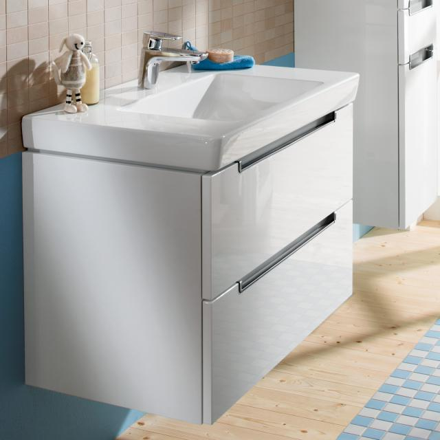 Villeroy & Boch Subway 2.0 XL vanity unit with 2 drawers front glossy white / corpus glossy white, chrome handles