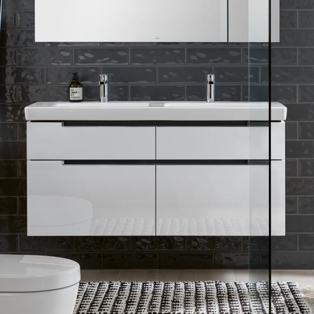 Villeroy & Boch Subway 2.0 XXL vanity unit for double washbasin, 4 pull-out compartments front glossy white / corpus glossy white, chrome handles