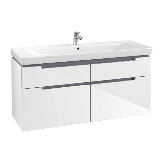Villeroy & Boch Subway 2.0 XXL vanity unit with 4 pull-out compartments front glossy white / corpus glossy white, chrome handles
