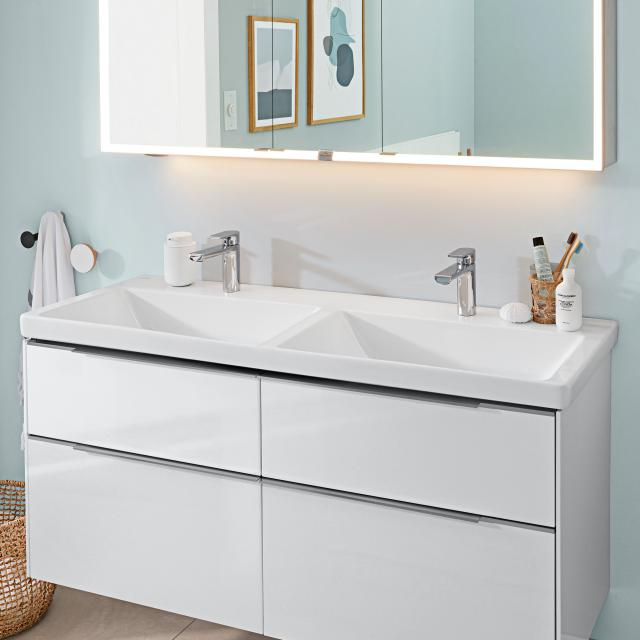 Villeroy & Boch Subway 3.0 double vanity washbasin white, with CeramicPlus, with 2 tap holes, without overflow