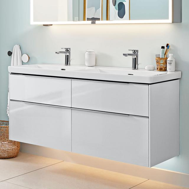 Villeroy & Boch Subway 3.0 double washbasin with LED vanity unit with 4 pull-out compartments front brilliant white / corpus brilliant white, handle strip aluminium gloss, WB white, with CeramicPlus, with 2 tap holes, with overflow