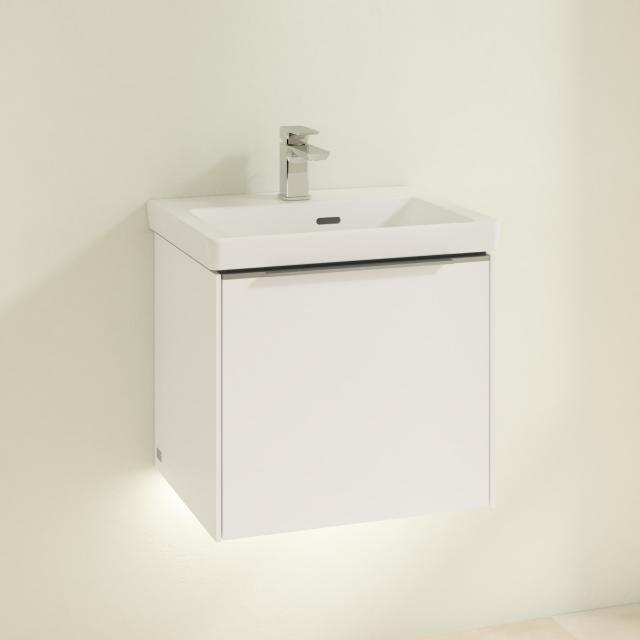 Villeroy & Boch Subway 3.0 hand washbasin with LED vanity unit with 1 pull-out compartment front brilliant white / corpus brilliant white, handle strip aluminium gloss, WB white, with CeramicPlus, with overflow