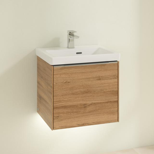 Villeroy & Boch Subway 3.0 hand washbasin with LED vanity unit with 1 pull-out compartment front kansas oak / corpus kansas oak, handle strip aluminium gloss, WB white, with overflow