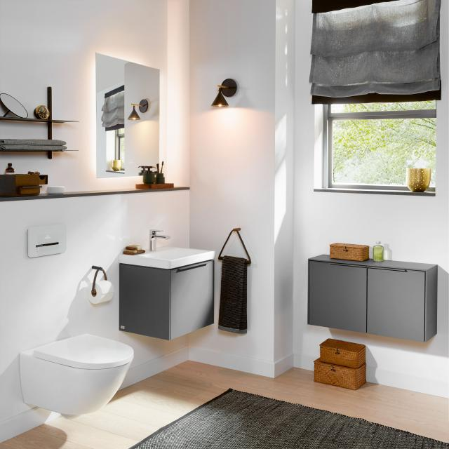 Villeroy & Boch Subway 3.0 hand washbasin with vanity unit and More to See Lite LED mirror WB white