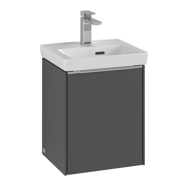 Villeroy & Boch Subway 3.0 hand washbasin with vanity unit with 1 door front graphite / corpus graphite, handle strip aluminium gloss, WB white, with overflow