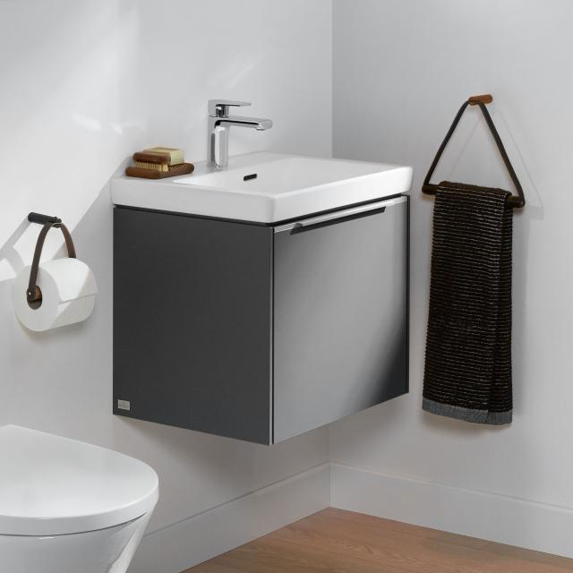 Villeroy & Boch Subway 3.0 hand washbasin with vanity unit with 1 pull-out compartment front graphite / corpus graphite, handle strip aluminium gloss, WB white, with overflow