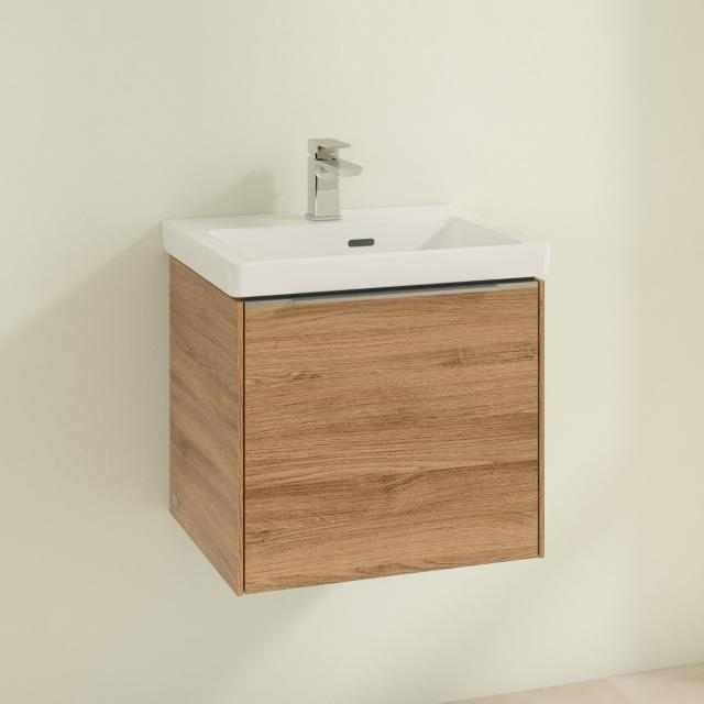 Villeroy & Boch Subway 3.0 hand washbasin with vanity unit with 1 pull-out compartment front kansas oak / corpus kansas oak, handle strip aluminium gloss, WB white, with CeramicPlus, with overflow