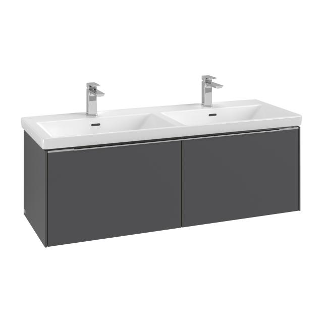 Villeroy & Boch Subway 3.0 LED vanity unit for double washbasin with 2 pull-out compartments front graphite / corpus graphite, handle strip aluminium gloss