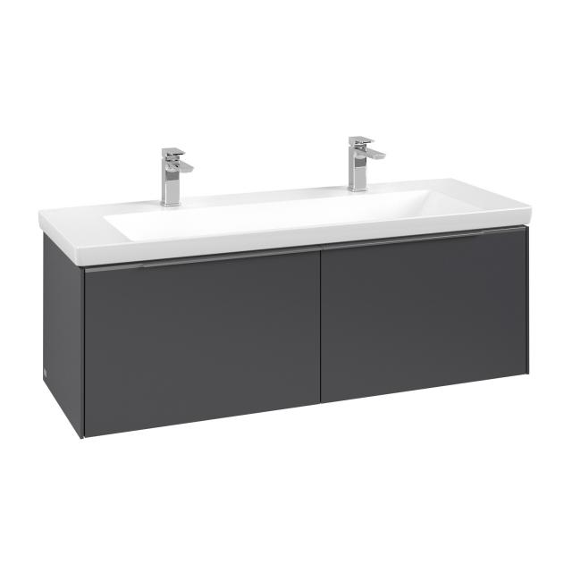 Villeroy & Boch Subway 3.0 LED vanity unit with 2 pull-out compartments front graphite / corpus graphite, handle strip aluminium gloss