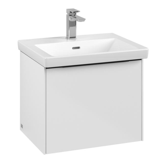 Villeroy & Boch Subway 3.0 LED vanity unit with 1 pull-out compartment front brilliant white / corpus brilliant white, handle strip volcano black